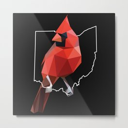 Ohio - Northern Cardinal (Black) Metal Print