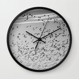 The Birds (Black and White) Wall Clock