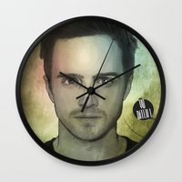 jesse pinkman Wall Clocks featuring Jesse Pinkman, Yo bitch! by Duke.Doks