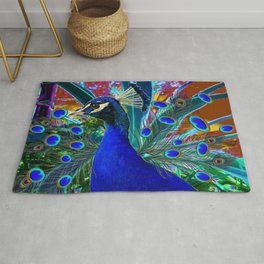 CHOCOLATE & BLUE PEACOCK FANTASY ART ABSTRACT Rug