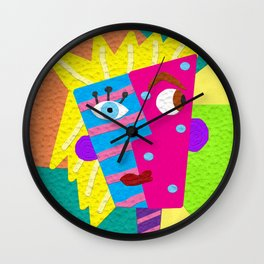 Faux-Clay Cubism Wall Clock