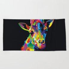 Abstract Pop Art Giraffe Beach Towel