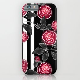 Red roses on black and white striped background. iPhone Case