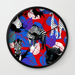ZEBRA PANDA GIRAFFE CHEETAH LION Wall Clock