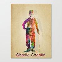 charlie chaplin Canvas Prints featuring charlie chaplin by mark ashkenazi