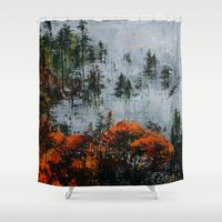 twin peaks Shower Curtains featuring Twin Peaks  by Olga Krokhicheva