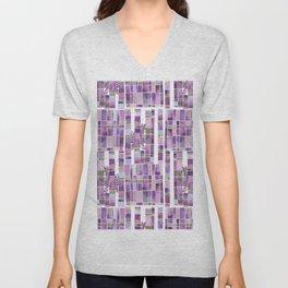 violet garden checkerboard pattern Unisex V-Neck