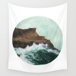 Crashing Waves on a cliff Wall Tapestry