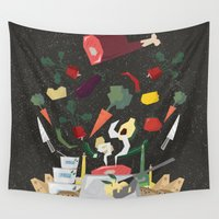 meat Wall Tapestries featuring MEAT DİNNER by Ceren Aksu Dikenci