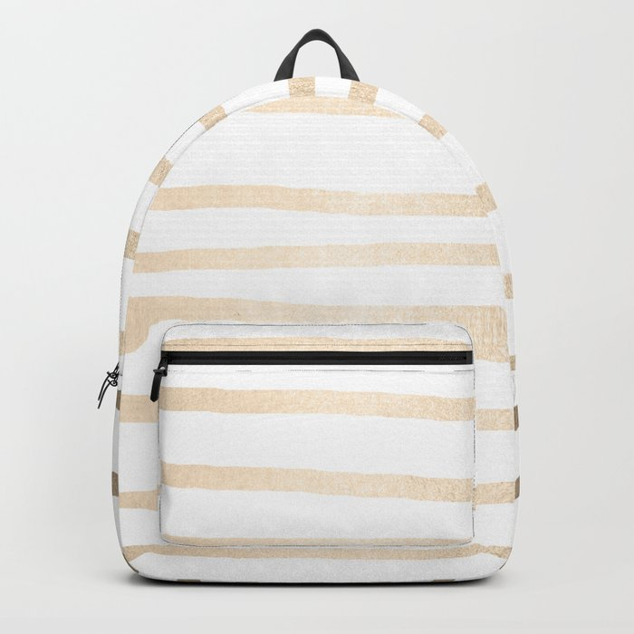 Simply Drawn Stripes in White Gold Sands Backpack
