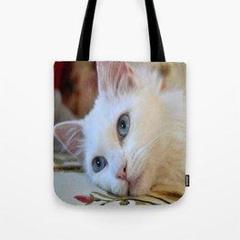 Portrait of A Blue Eyed Van Cat Tote Bag