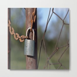 castle fence chain locks metal Metal Print