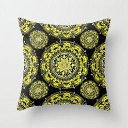 Black and Gold Regal Mandala Textile Throw Pillow