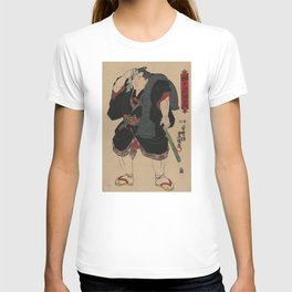 Sumo Wrestler Japanese Woodcut Block Print T-shirt