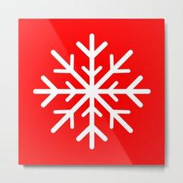 Snowflake (White & Red) Metal Print