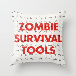Zombie Survival Tools - Pattern 'o tools Throw Pillow