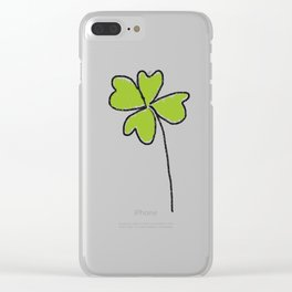 four-leaf clover leaves pattern Clear iPhone Case