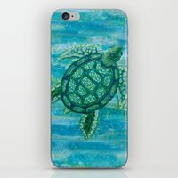 sea turtle iPhone & iPod Skins featuring turtle by Brittany Rae