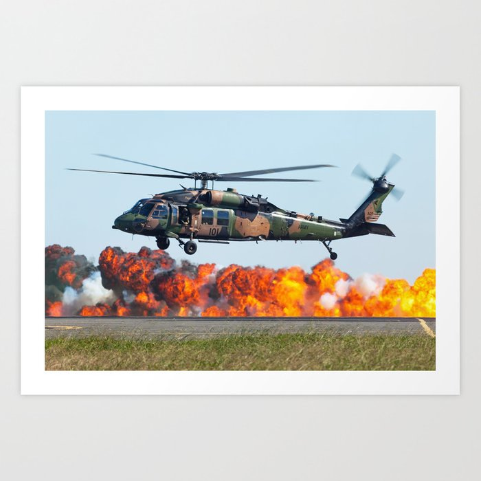 Blackhawk with fireball Avalon Airshow 2011 Art Print