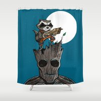 groot Shower Curtains featuring Rocket & Groot by mebz art