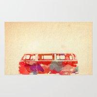 vw Area & Throw Rugs featuring VW Van  by Stacia Elizabeth