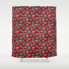 Red blue abstract Christmas decor . Snowflakes . Shower Curtain