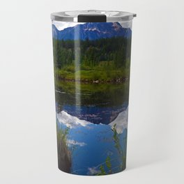 Pyramid Mountain as seen from Cottonwood Slough in Jasper National Park, Canada Travel Mug