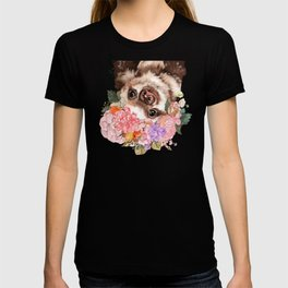Baby Sloth with Flowers Crown in White T-shirt