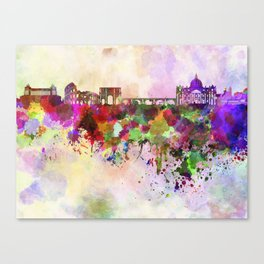 Rome skyline in watercolor background Canvas Print