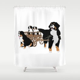 Family of Bernese Mountain Dogs with Wooden Wagon Shower Curtain