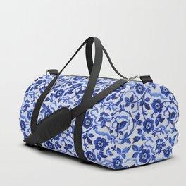 Azulejos blue floral pattern Duffle Bag