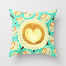 Cutesy Coffee Heart Kitchen Print Throw Pillow
