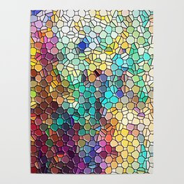 Decorative Rainbow Tiled Mosaic Abstract Poster