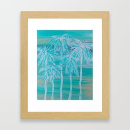 Teal Palm Trees Framed Art Print
