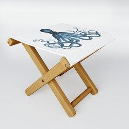 Octopus coastal ocean blue watercolor Folding Stool