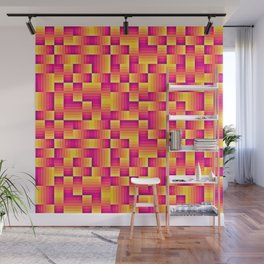 Yellow Pink Geo Pattern Wall Mural