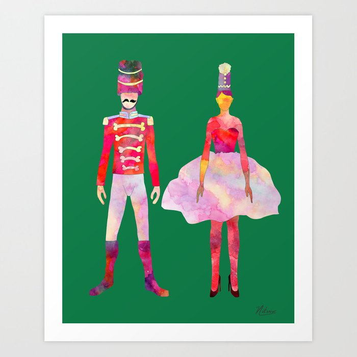 Nutcracker Ballet - Candy Cane Green Art Print