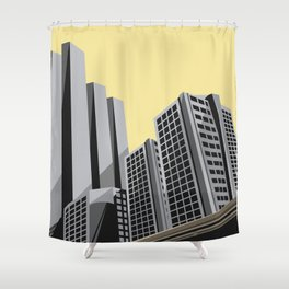 Modern City Yellow Sky Shower Curtain
