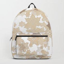 Golden tones on crochet stars Backpack
