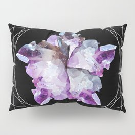 Crystal Totem Line Work Occult Tattoo Style Illustration Pillow Sham
