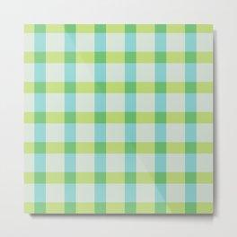 Green Lines Pattern Metal Print