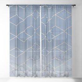Silver Navy Blue Geometric Block Cubes Modern Pattern Trendy White Marble Sheer Curtain