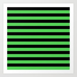 Stripes (Black & Green Pattern) Art Print