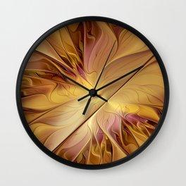 Golden Autumn, Abstract Fractal Art Wall Clock
