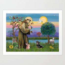 Saint Francis and Black & Tan Dachshund Art Print