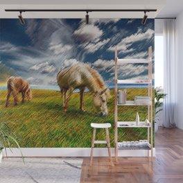 Horses Grazing Landscape Painting by Jeanpaul Ferro Wall Mural