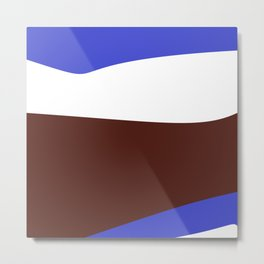Blue White Brown Abstract Metal Print