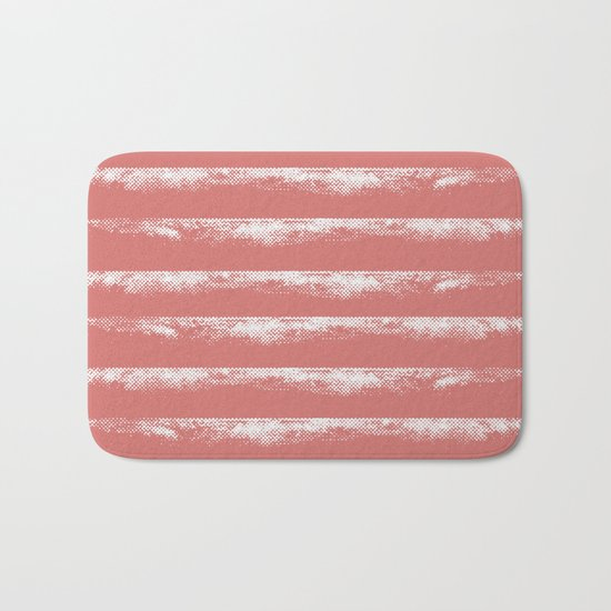 Irregular Stripes Coral Bath Mat
