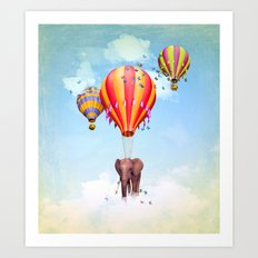 Elephant first fly Art Print