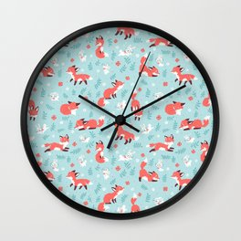 Fox and Bunny Pattern Wall Clock